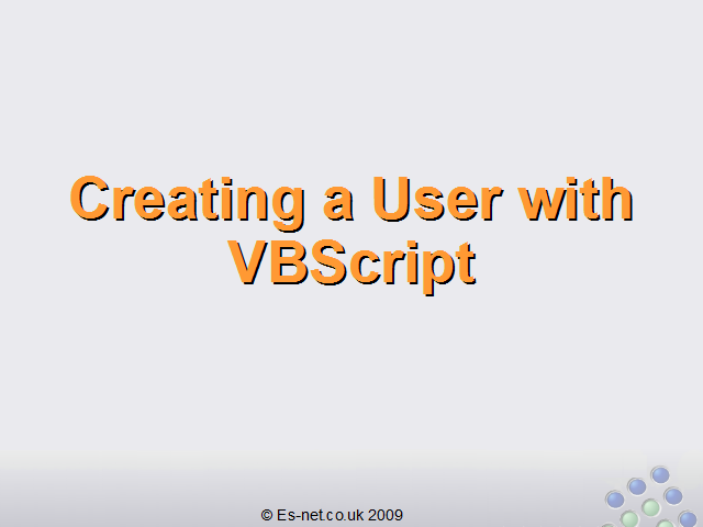 How to Create Users with VBScript