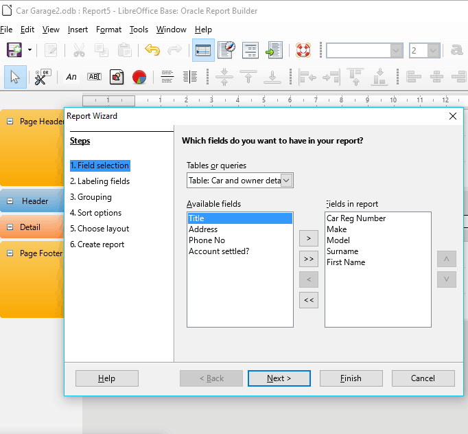 17 Insert, delete a data field in group, page, report headers and footers