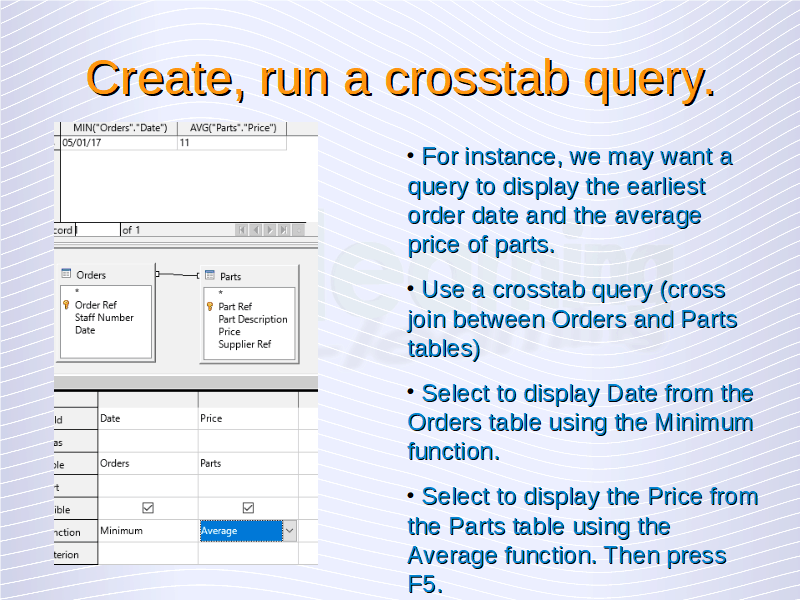 Advanced Database – Create, run a crosstab query