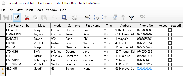 5 Table Data View