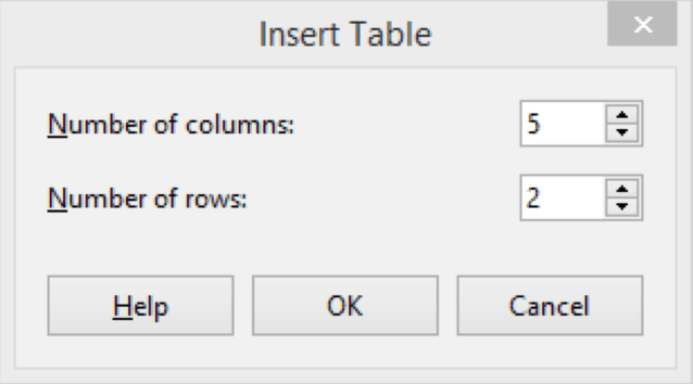 Table Rows and Columns 20